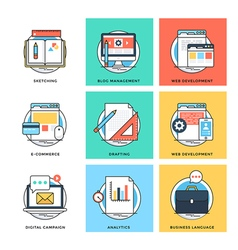 Flat Color Line Design Concepts Icons 9 vector image
