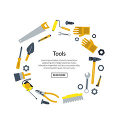 Flat construction tools in circle shape vector