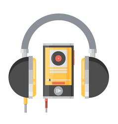 Flat headphones with player vector