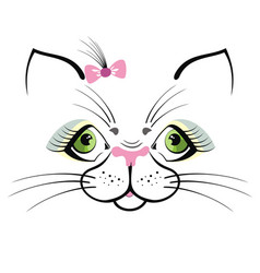 funny cat with green eyes vector image