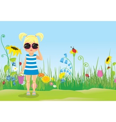 Girl in glasses on the lawn vector