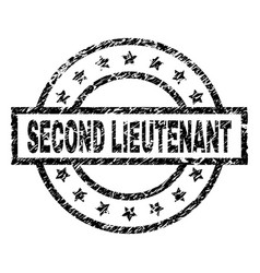 Grunge textured second lieutenant stamp seal vector