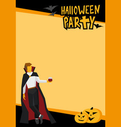 Halloween frame with vampire and wineglass vector