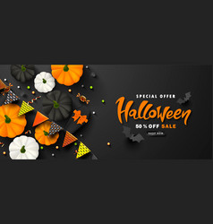 Halloween sale promotion poster with paper bats vector