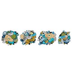 hand wash cartoon doodle designs set vector image