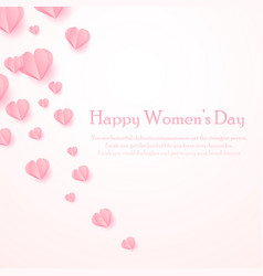 happy women s day greeting card with cut out paper vector image