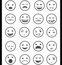 Icons set 20 emotional smiles black and white vector