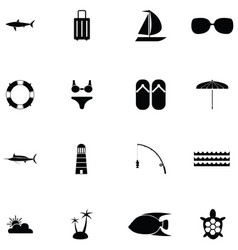 island icon set vector image