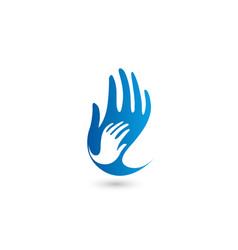 Isolated blue and white hands logo vector