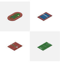 Isometric lifestyle set of run stadium tennis vector