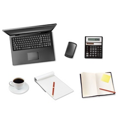 laptop and coffee and notepad telephone vector image