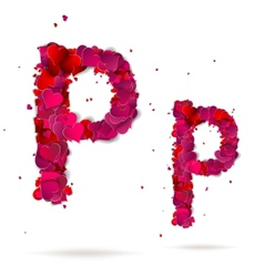 Letter p made from hearts Love alphabet vector