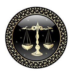 libra zodiac sign in circle frame vector image