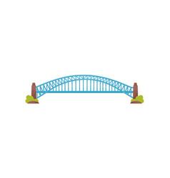 long bright blue metal bridge large construction vector image