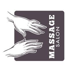 massage salon hand drawn sketch monochrome logo vector image