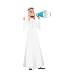 Muslim businessman talking into loudspeaker vector