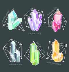 Natural crystals in a shaped geometric frame vector