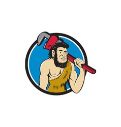 Neanderthal CaveMan Plumber Monkey Wrench Circle vector