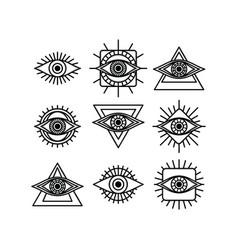 one eye sign symbol logo logotype collection vector image
