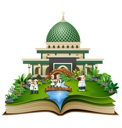 open a book with group of muslim people shaking ha vector image