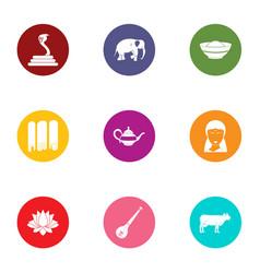 Orientalist icons set flat style vector