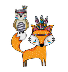 Owl and fox animals with feathers design vector