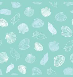 Pastel light blue seashells paradise repeat vector