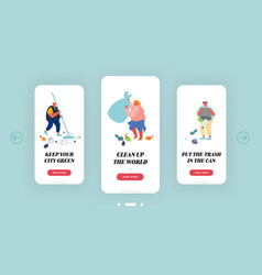 people throwing and collecting trash mobile app vector image