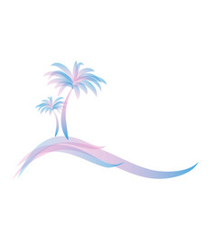 pink blue logo two palm trees on island on vector image