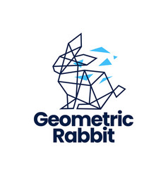rabbit hare bunny geometric polygonal tech logo vector image