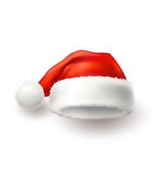 Realistic santa christmas holiday 3d hat vector