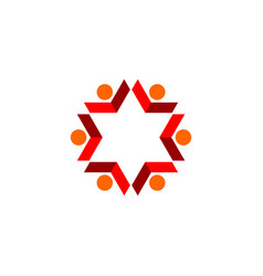 Red star flower human shape logo template design vector