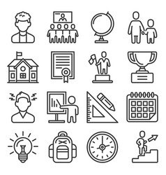 School and education icons set on white background vector