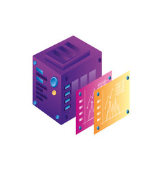 Server data center with statistics webpage vector