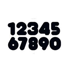 set numbers bold style trendy typography vector image