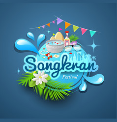 Songkran festival of thailand logo design vector