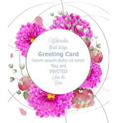 Spring flowers card watercolor beautiful vector