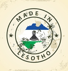 Stamp with map flag of Lesotho vector image