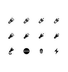 Tourist flashlight icons vector