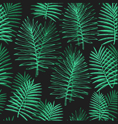 tropical plants seamless pattern hand drawn vector image