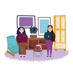 Two women with chair potted plant and books on vector