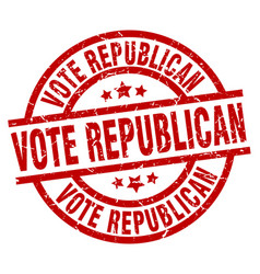 Vote republican round red grunge stamp vector