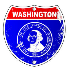 Washington flag icons as interstate sign vector