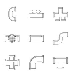 Water connector equipment icon set outline style vector