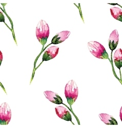 Watercolor painting with Rose flowers Seamless vector