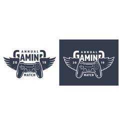 winged gamepad or joystick emblem vector image