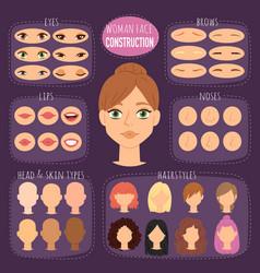 Woman character constructor cartoon face vector