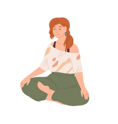 Woman with closed eyes meditating in yoga lotus vector