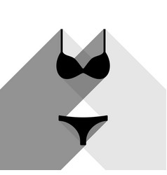women swimsuit sign black icon with two vector image