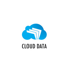 cloud data paper logo vector image vector image
